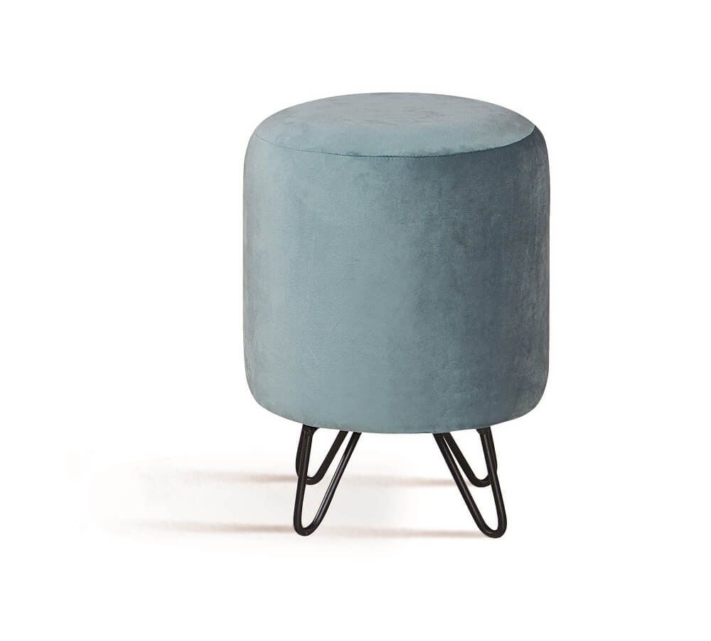 Puff Rolha Aço Azul Tecido Veludo DAF