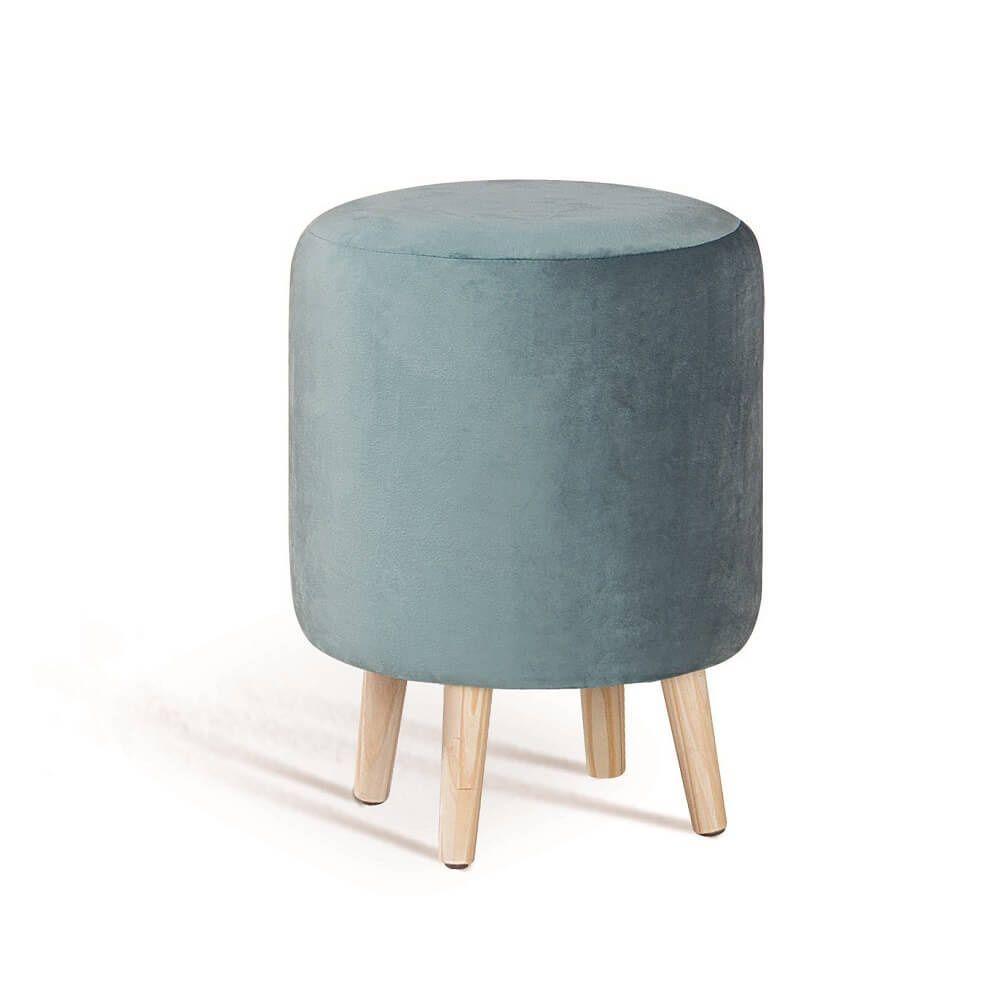 Puff Rolha Madeira Azul Tecido Veludo DAF