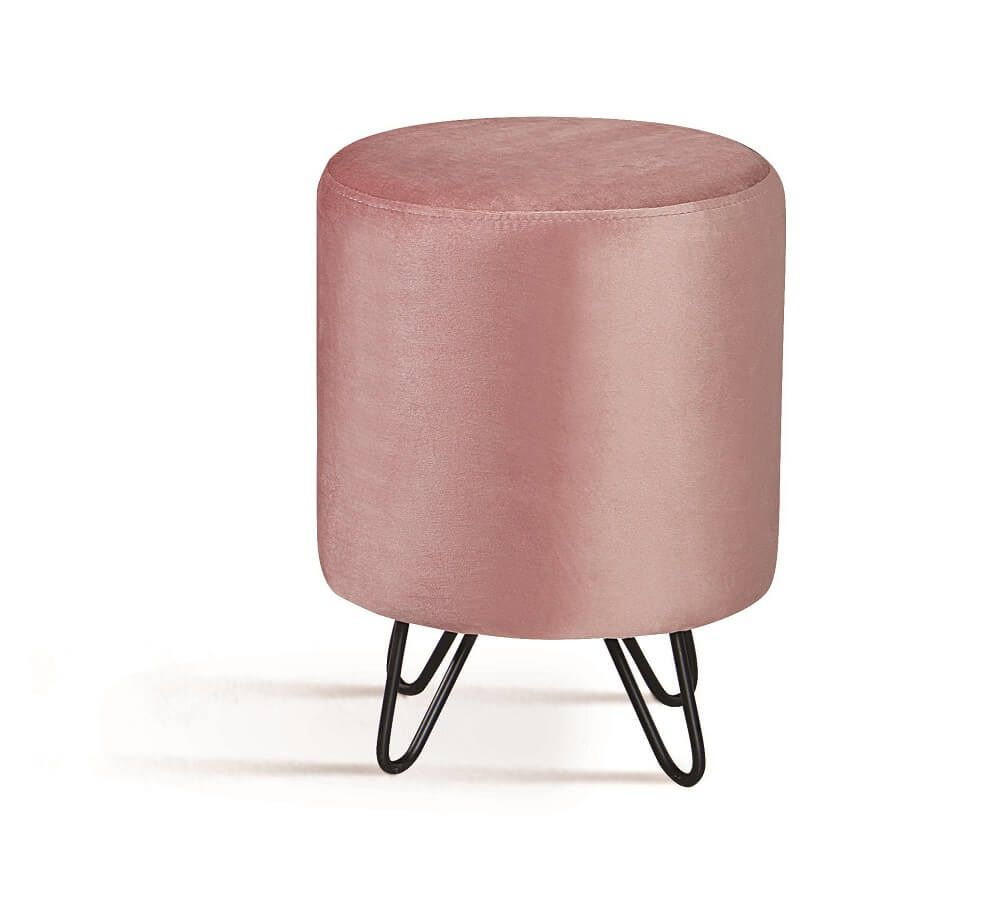 Puff Rolha Aço Rosa Tecido Veludo DAF