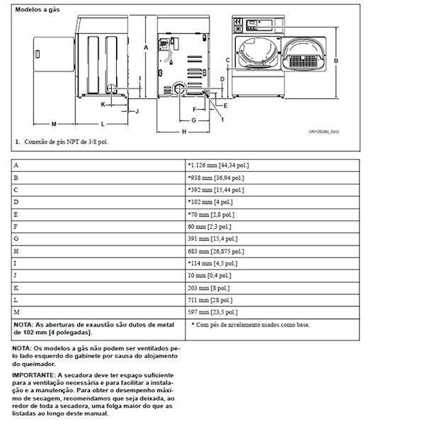 Secadora Comercial à Gás Speed Queen Quantum 8,2 Kg Branca sem Cofre e Ficheiro