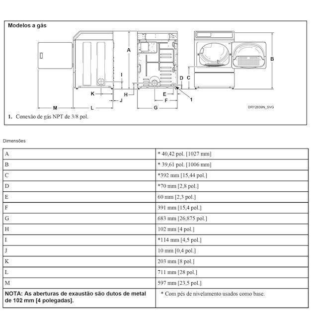 Secadora de Roupas à Gás Speed Queen 10,5Kg Inox