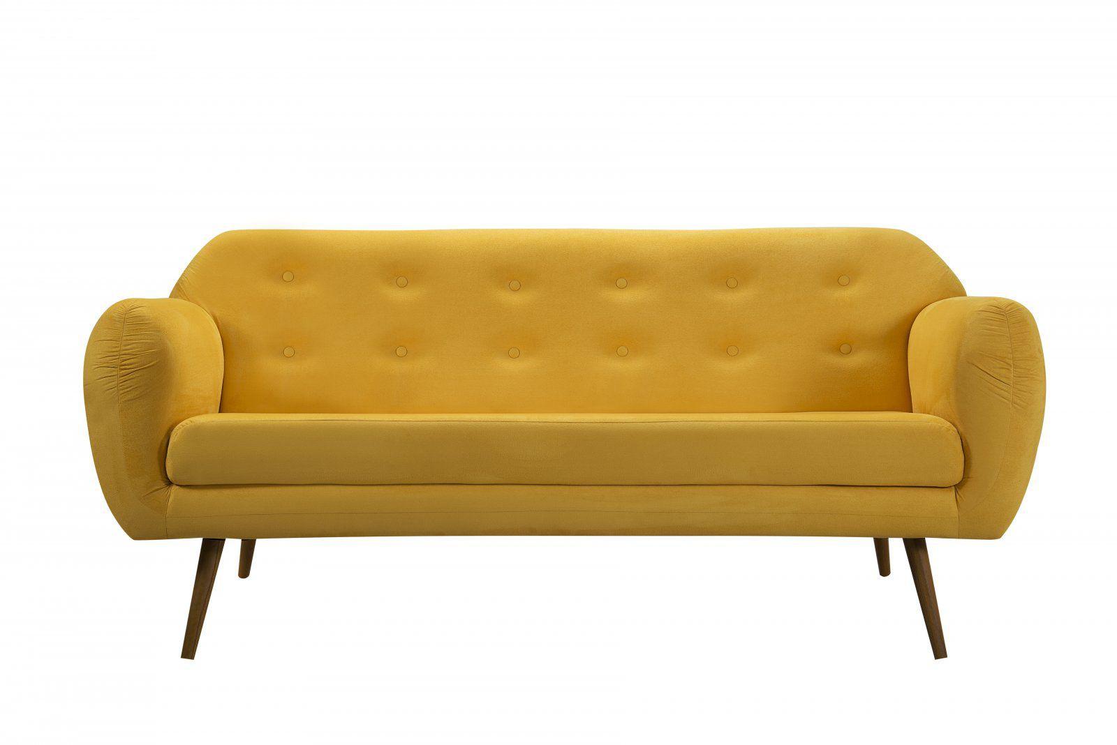 Sofá Beatle Color Trends 3 Lugares Suede Amarelo DAF