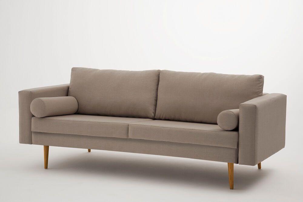 Sofa Dylan 3 lugares Bege Tecido Linho DAF