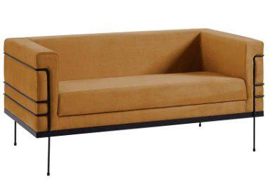 Sofá Le Corbusier 2 Lugares Dourado Tecido Veludo