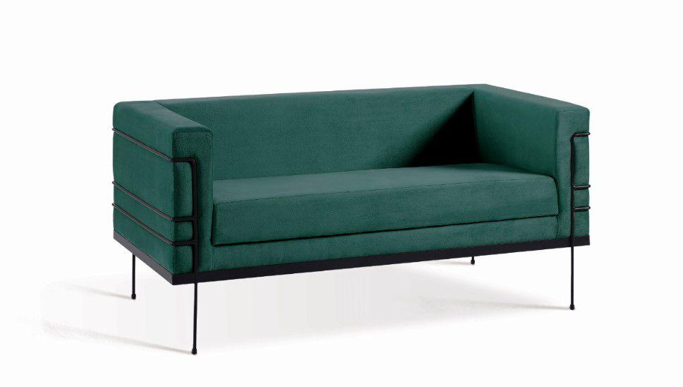 Sofá Le Corbusier 2 Lugares Verde Tecido Veludo