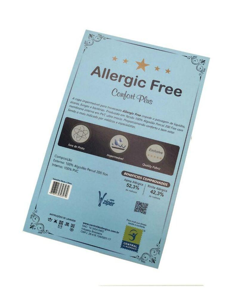 Capa Antiácaro Impermeável Para Travesseiro Adulto Percal 200 fios ALGODÃO/PVC Ultra Macio - Fechamento c/zíper