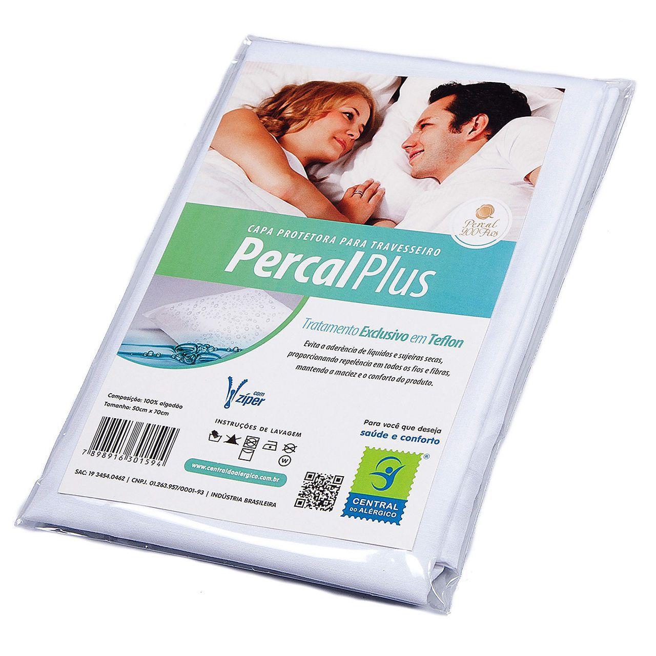 Capa antialérgica para travesseiro adulto confeccionada em tecido percal 200 fios - Linha percal plus - Fechamento c/zíper