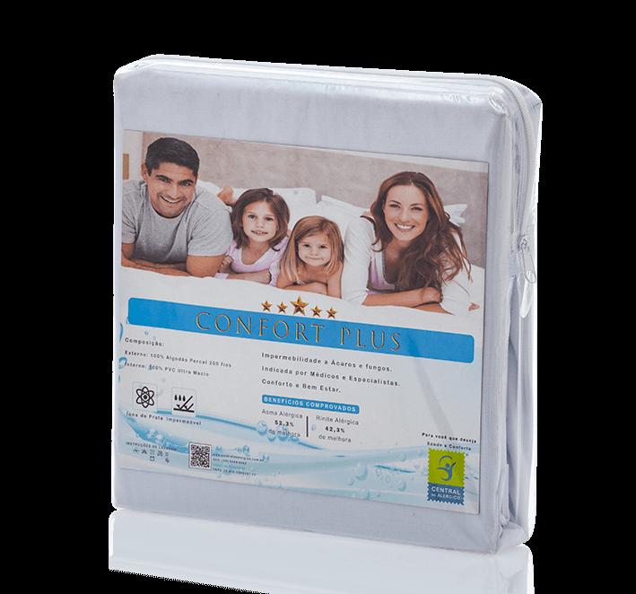 Capa Impermeável Antiácaro e Antialérgica Para Casal Percal 200 fios ALGODÃO/PVC Ultra Macio Fechamento c/zíper