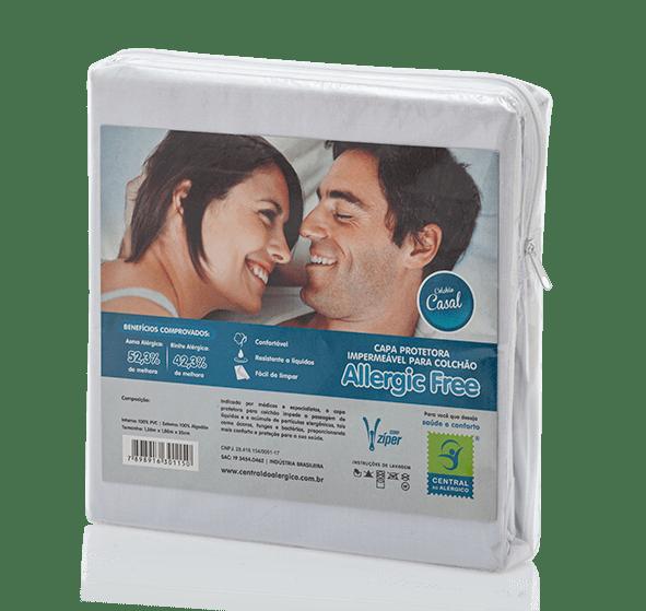 Capa Impermeável Antiácaro e Antialérgica Para Colchão Casal ALGODÃO 170 Fios/PVC - Fechamento c/zíper