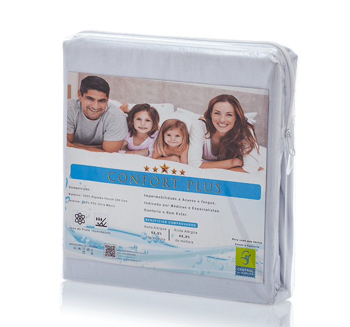 Capa Impermeável Antiácaro e Antialérgica Para Colchão Casal Percal 200 fios ALGODÃO/PVC Ultra Macio - Vapt Vupt (Elástico)