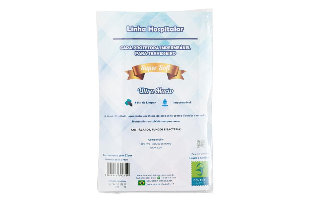 Capa Impermeável Para Travesseiro Adulto Napa Hospitalar Super Soft - Fechamento c/zíper