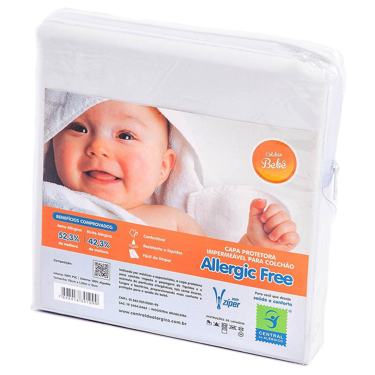 Capa Antiácaro Impermeável para Bebê ALGODÃO/PVC c/zíper