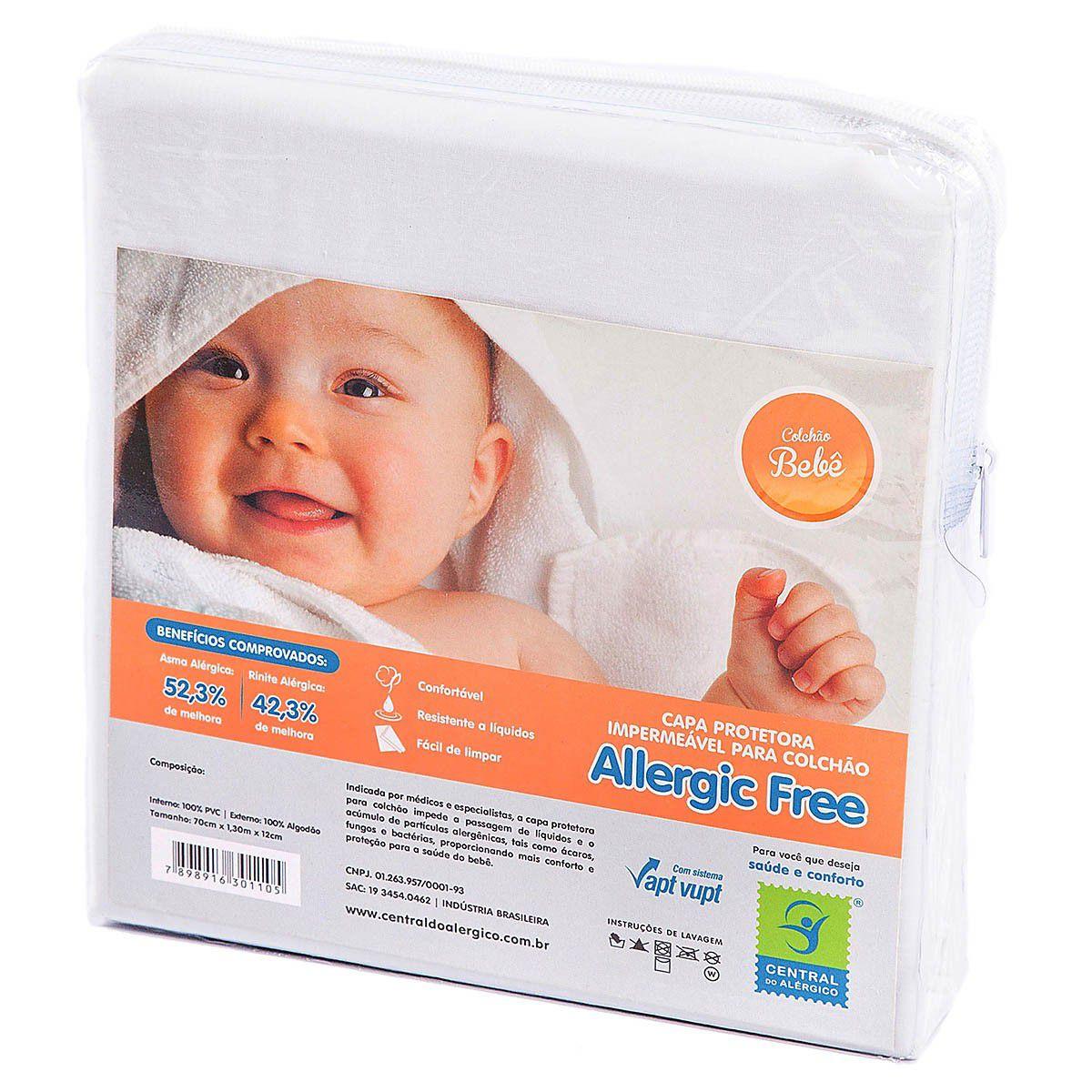 Capa Impermeável Antiácaro e Antialérgica Para Colchão Bebê ALGODÃO 170 Fios /PVC - Vapt Vupt (Elástico)