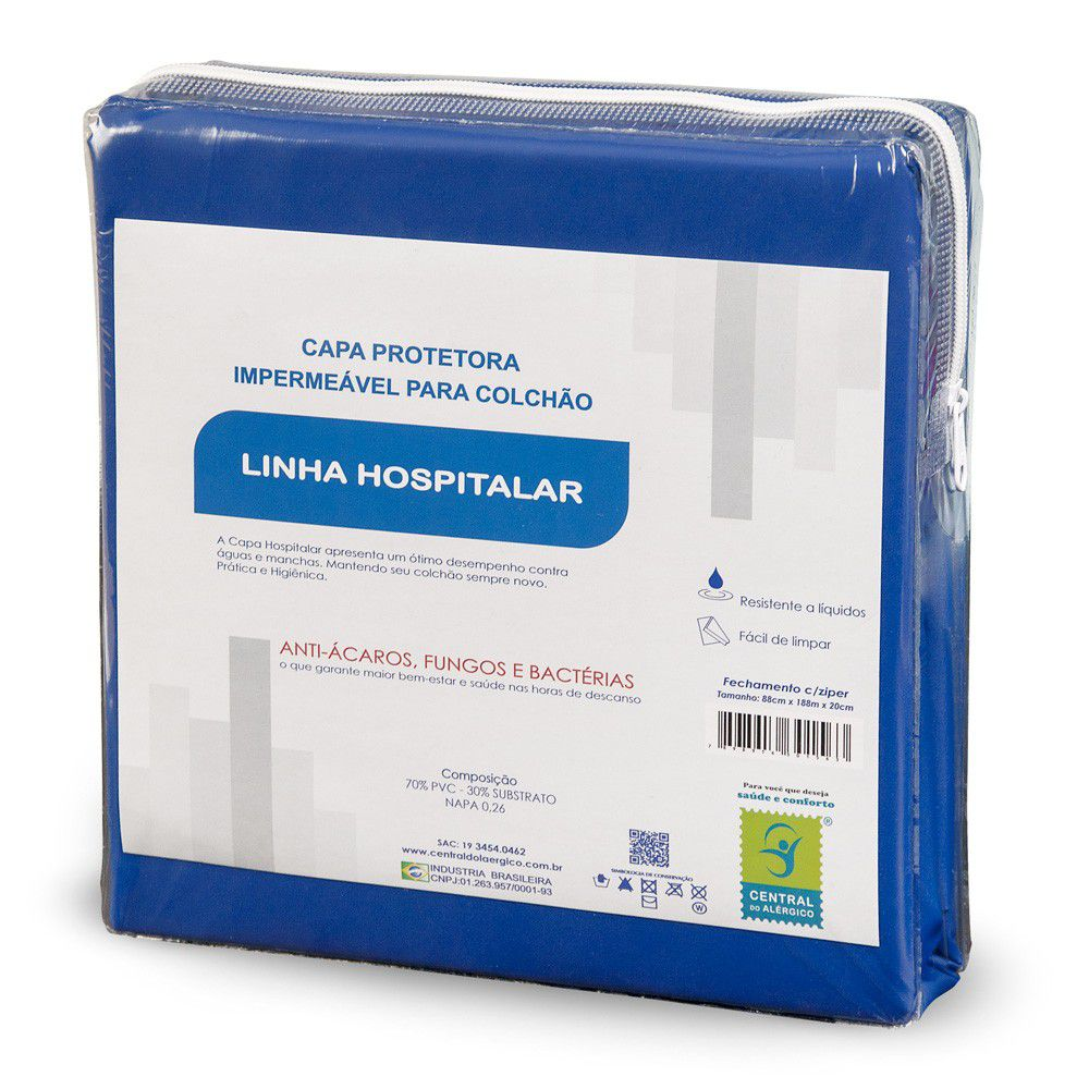Capa Impermeável Para Colchão Casal Napa Hospitalar - Fechamento c/zíper