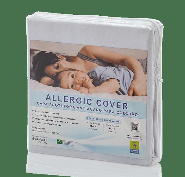 Capa Para Colchão Solteiro Longo Antiácaro e Antialérgica Allergic Cover 100% Algodão Percal 220 Fios Fechamento c/ Zíper - Livre de PVC