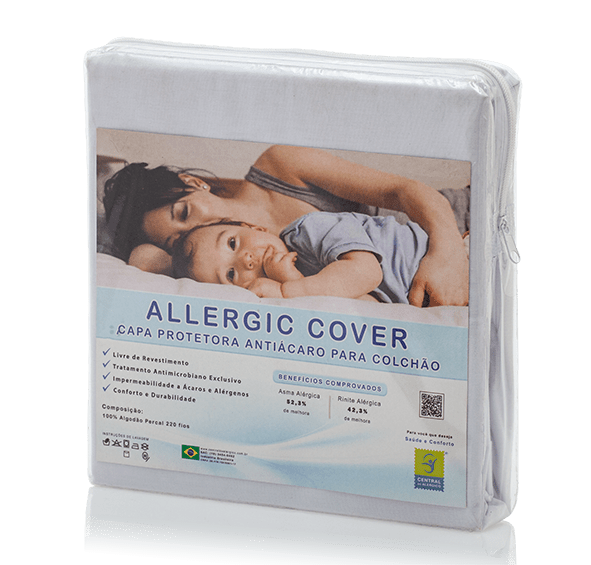Capa Para Colchão Solteiro Longo Antiácaro e Antialérgica Allergic Cover 100% Algodão Percal 220 Fios c/ Elástico - Livre de PVC