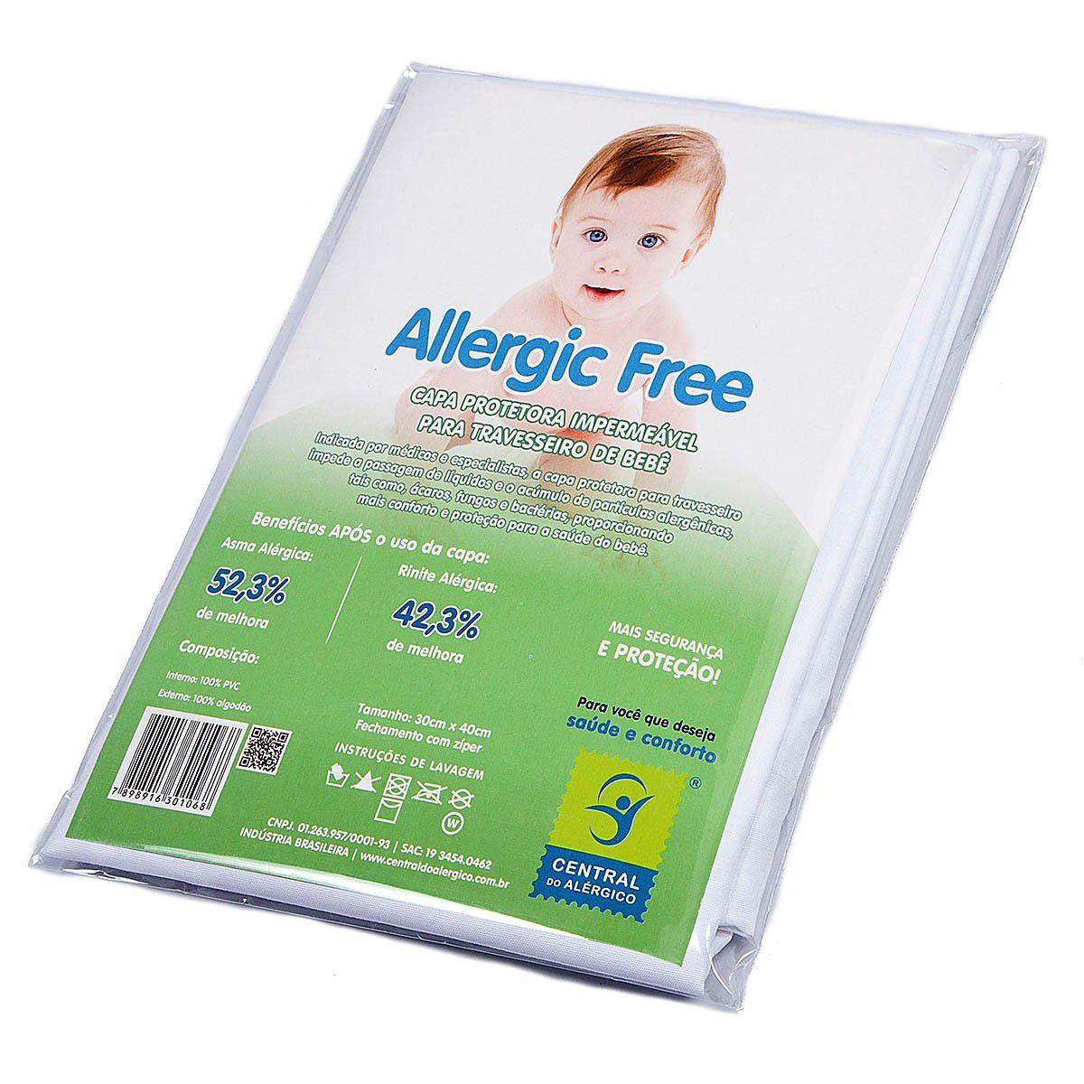 Capa Antiácaro Impermeável para Travesseiro Bebê ALGODÃO/PVC Fechamento c/zíper