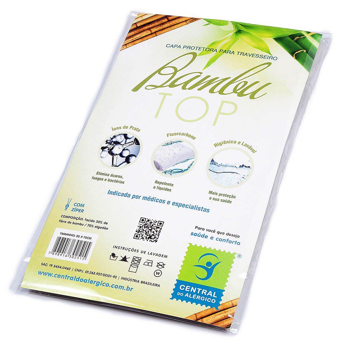 Capa antialérgica para travesseiro adulto confeccionada em tecido com fibra de bambu - Linha Bambu Top - Fechamento c/zíper