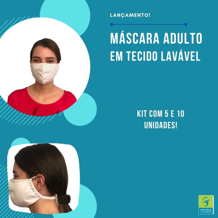 Kit Máscaras Adulto Em Tecido 100% Algodão Percal 200 Fios Lavável Com Tratamento Antimicrobiano