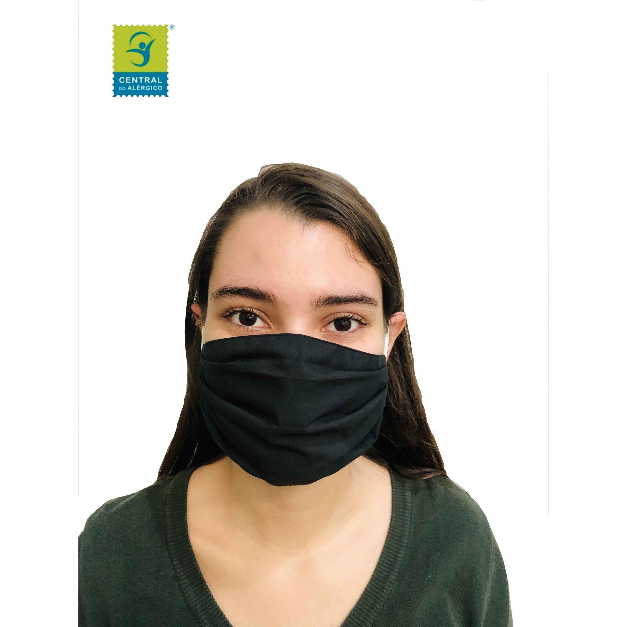 Kit 5 Máscaras Adulto Em Tecido 100% Algodão Percal 200 Fios Lavável Com Tratamento Antimicrobiano Modelo: Quadrado