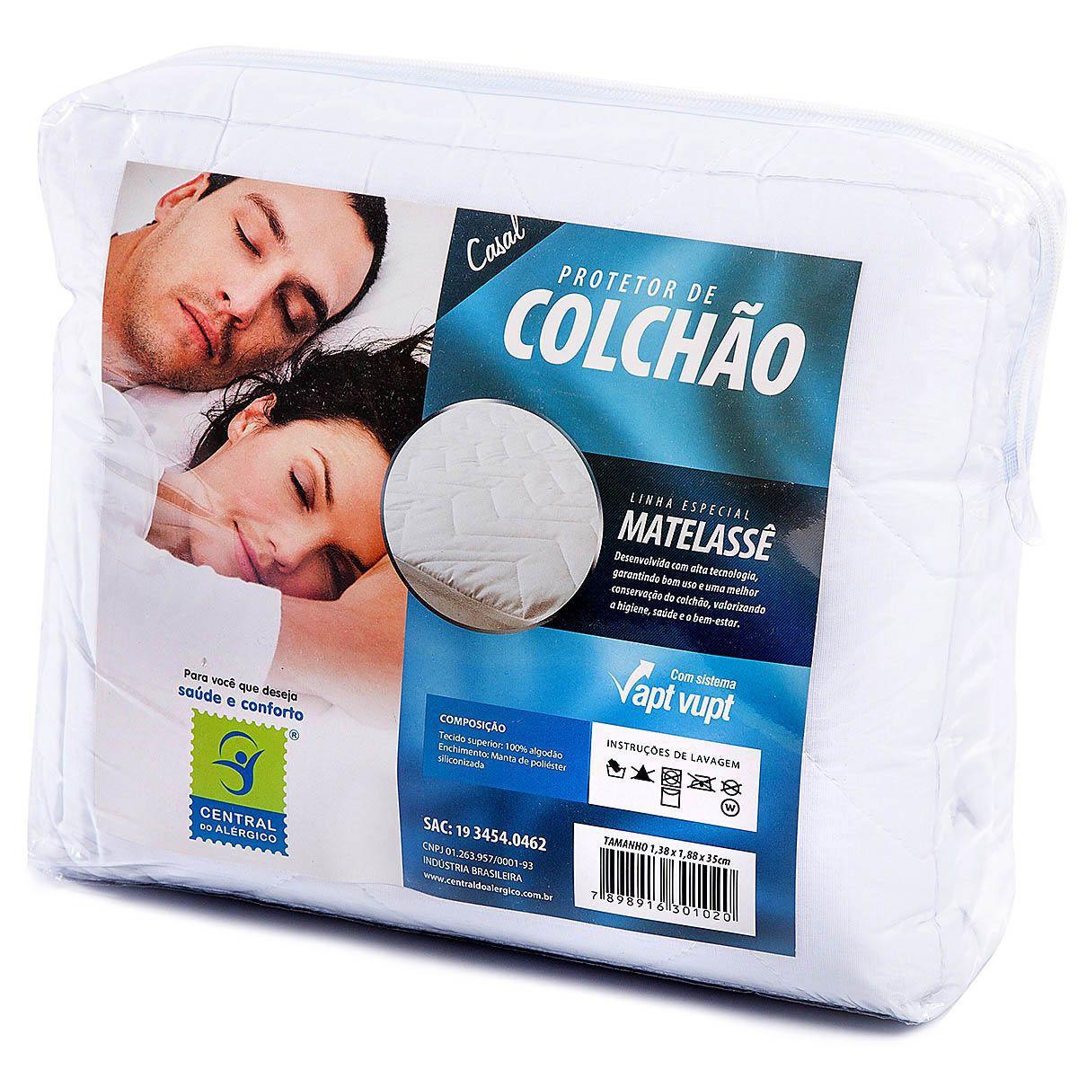 Protetor de Matelassê Permeável de Colchão Casal 100% ALGODÃO VAPT VUPT (Elástico)