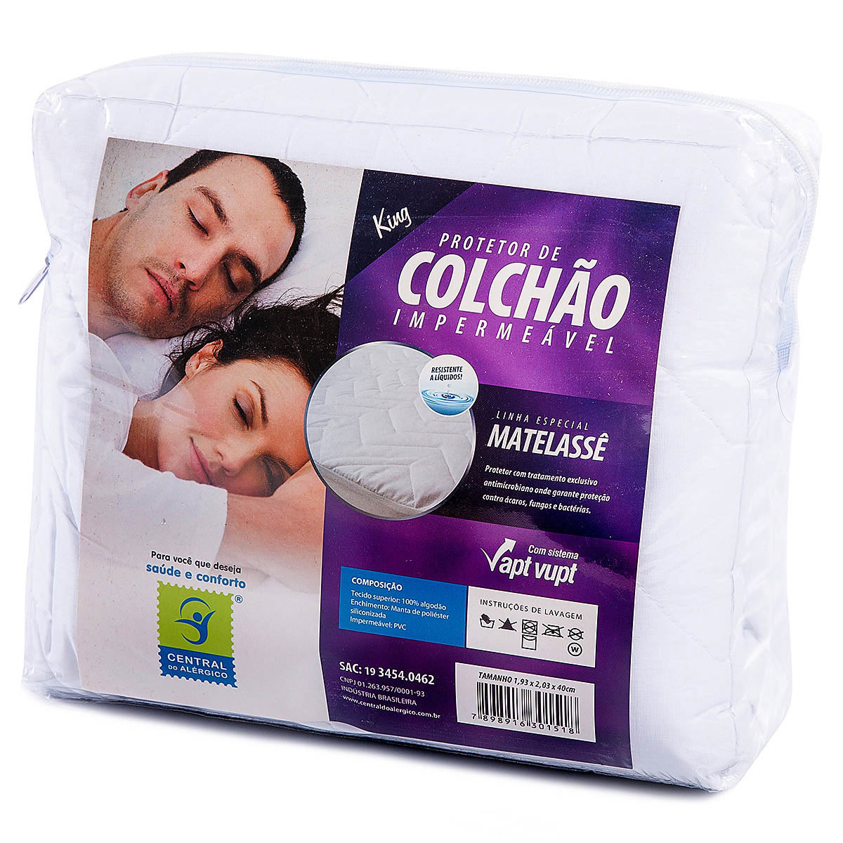 PROTETOR DE COLCHÃO 100% ALGODÃO KING IMPERMEÁVEL