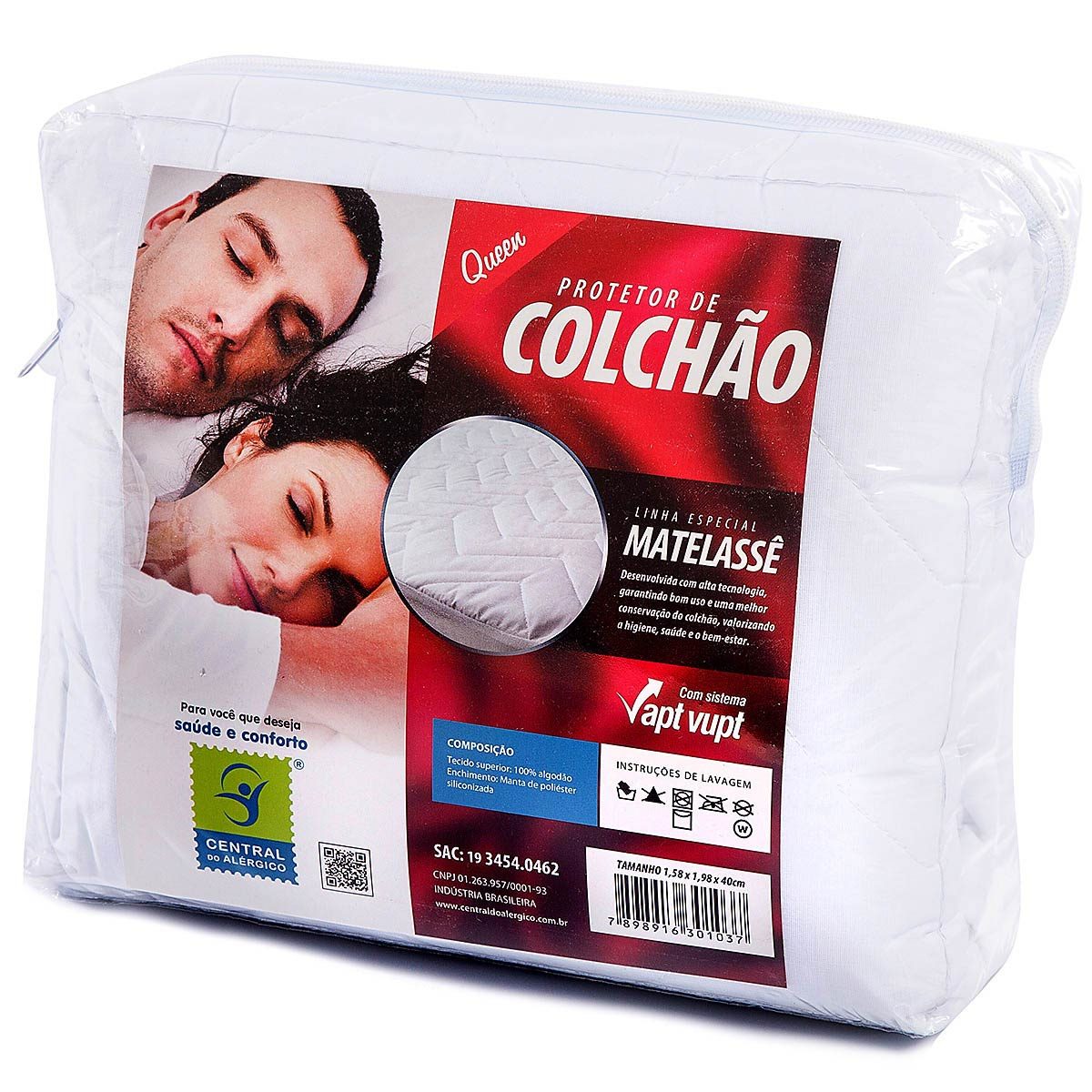 Protetor de Matelassê Permeável de Colchão Queen 100% ALGODÃO VAPT VUPT (Elástico)