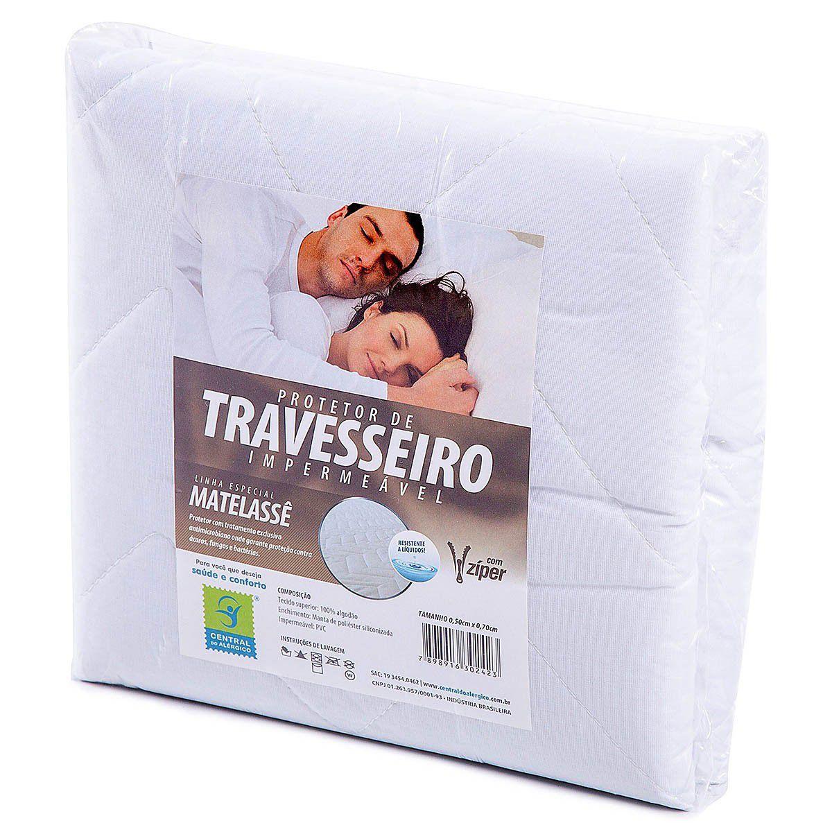 Protetor de Matelassê Impermeável para Travesseiro 100% ALGODÃO Fechamento c/ zíper