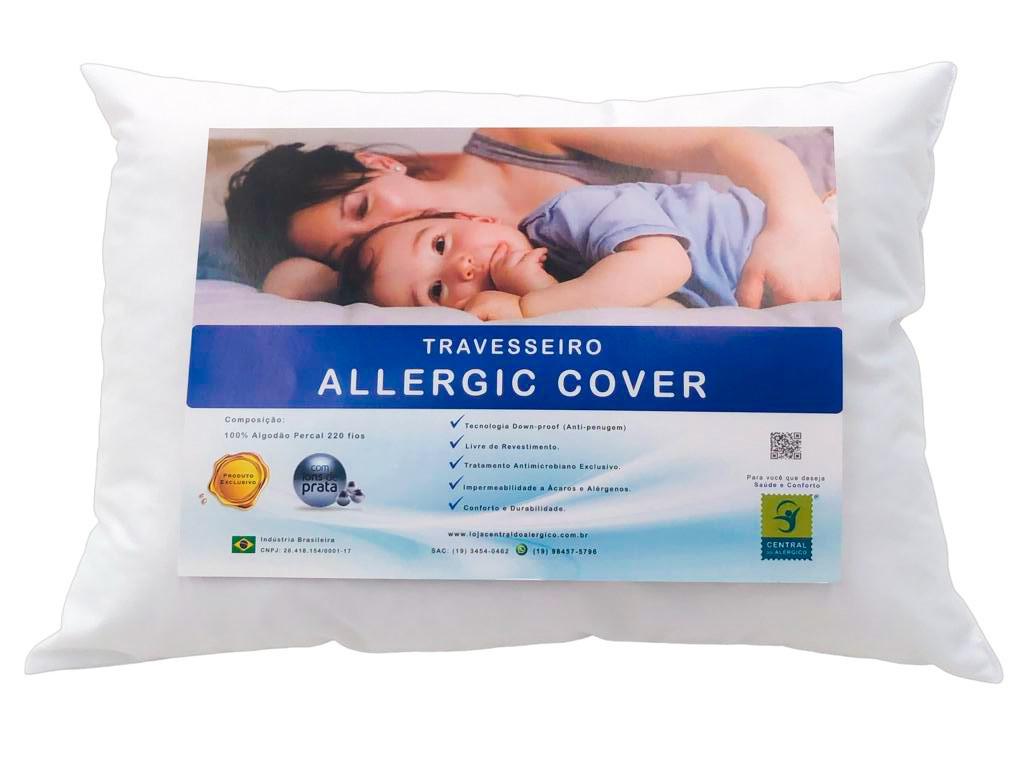 Travesseiro 45cm x 65cm Antiácaro Allergic Cover - Acompanha Capa 100% Algodão Percal 220 Fios