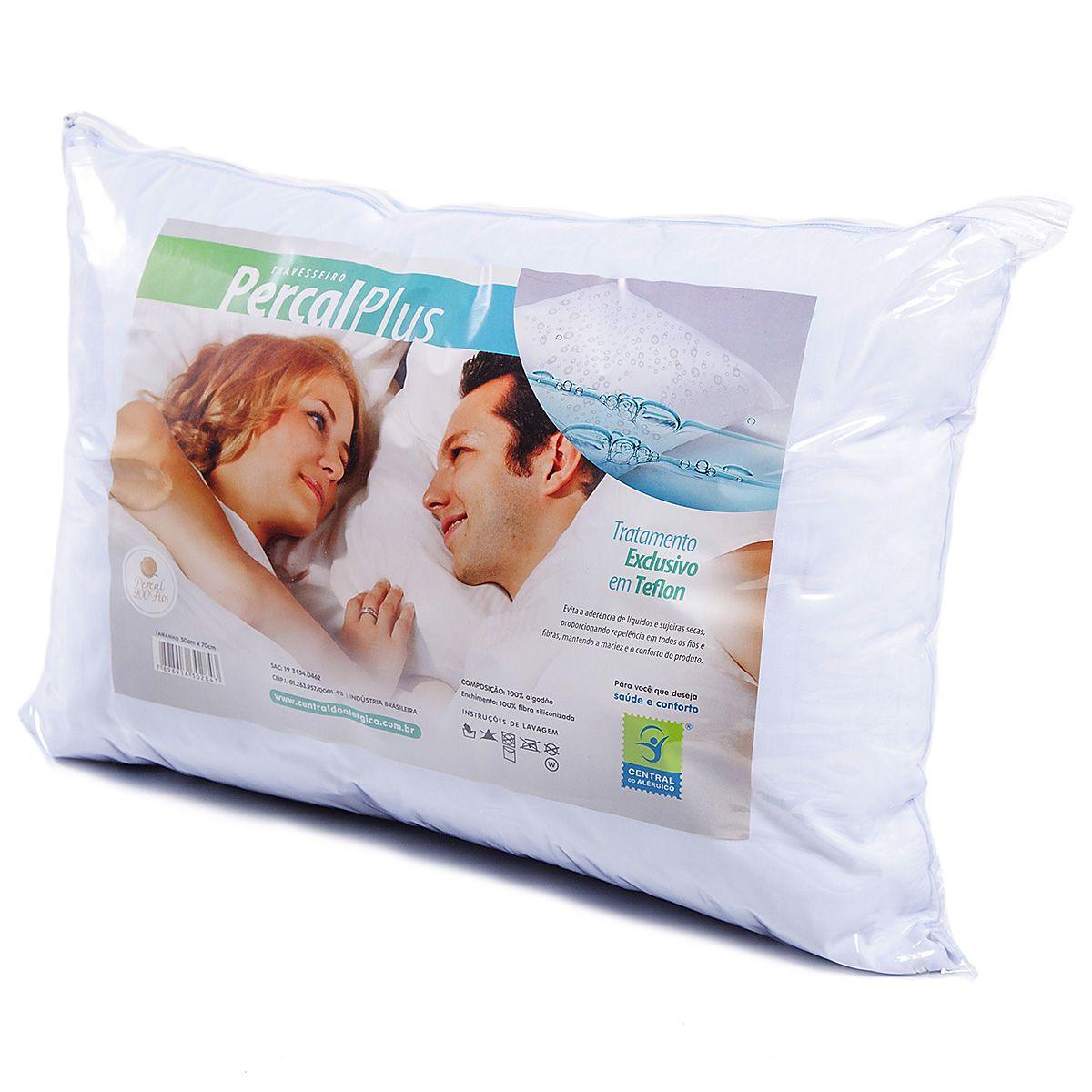 Travesseiro Adulto Antialérgico Percal Plus