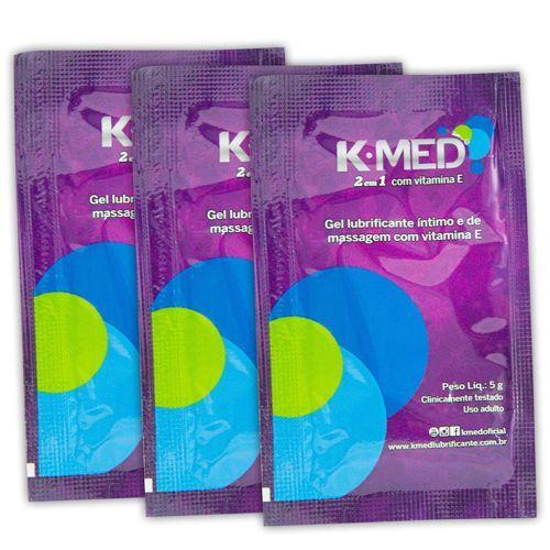 Lubrificante Íntimo e Gel de Massagem K-MED 2 em 1 03 Sachês  - Condomania
