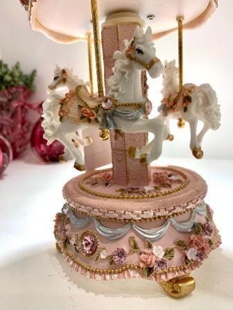 Carrossel Musical Cavalinho com pedras - Rosa