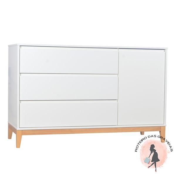 Cômoda 3 gavetas 1 porta  Slim - Branco/madeira