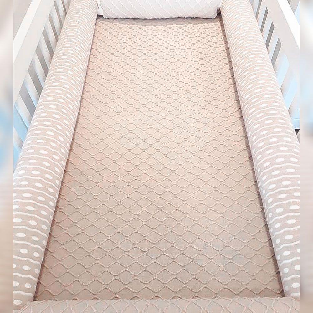 Kit Berço Dots Baby Bege com Off-White Tricot - 5 Peças