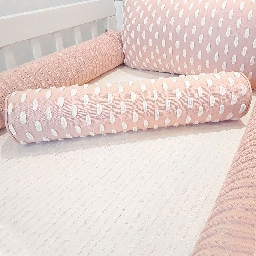 Kit Berço Mini Tranças e Kiss Baby Rosé Tricot - 5 Peças