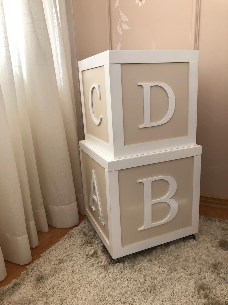 Kit Cubo Baú Decorativo - 2 Peças - Bege
