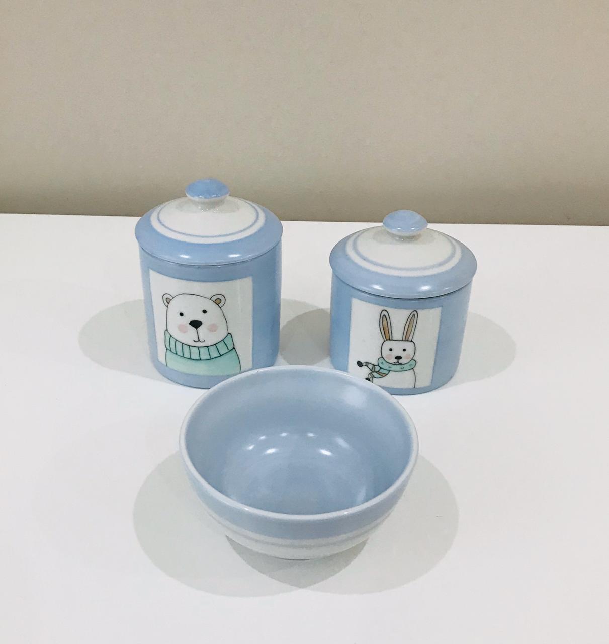 Kit de Higiene Animais Azul Claro com Branco - 3 Peças