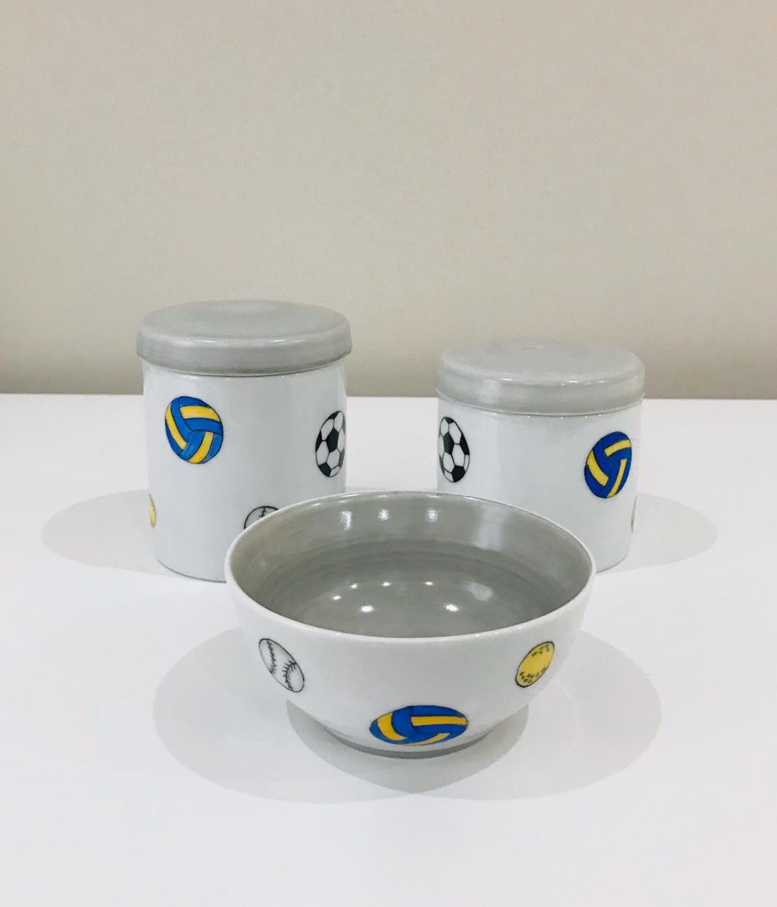 Kit de Higiene Esporte Branco com Cinza - 3 Peças