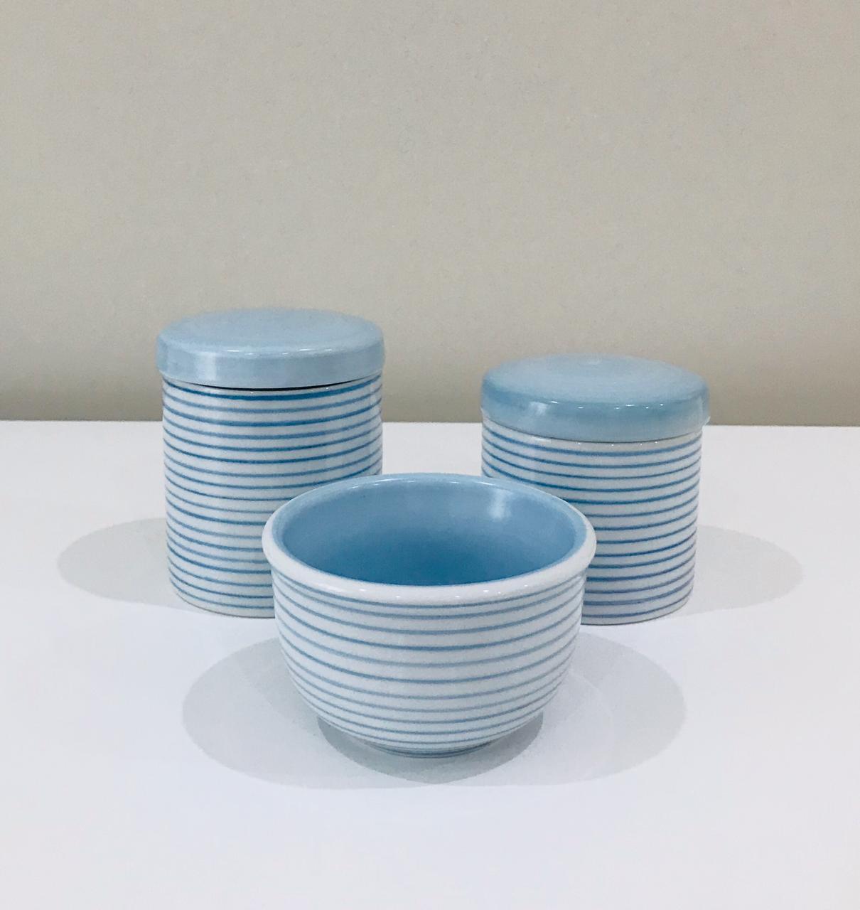 Kit de Higiene Listrado Azul - 3 Peças