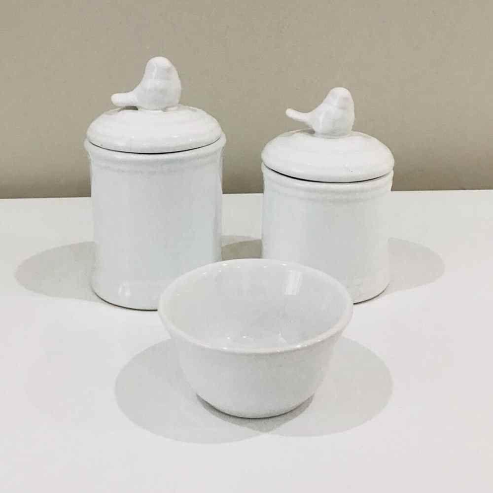 Kit de Higiene Losango Passarinho Branco - 3 Peças