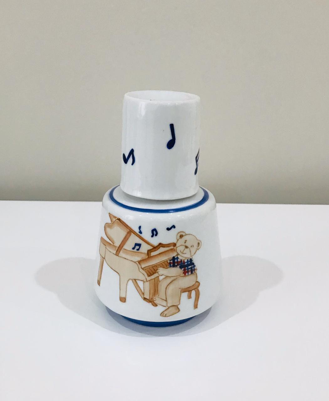 Kit de Higiene Urso Musical Bege com Azul - 4 Peças