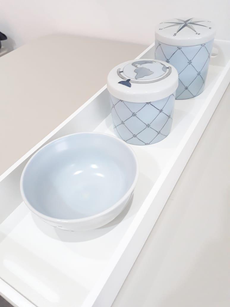 Kit Higiene 5 peças volta ao mundo - Azul - personalizado