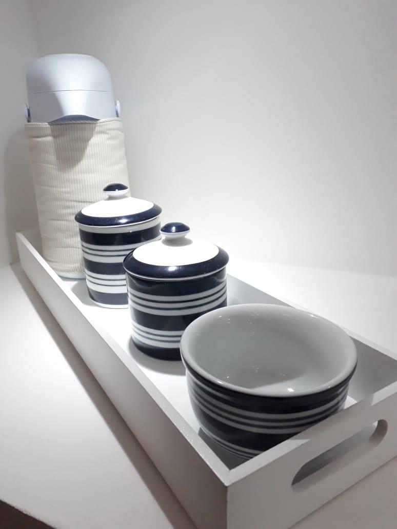 Kit higiene 6 peças  Listra – Azul Marinho