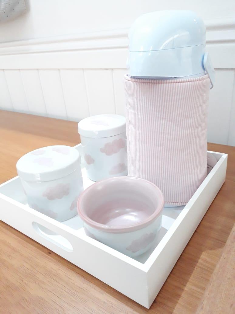 Kit higiene 6 peças  nuvem - Rosa
