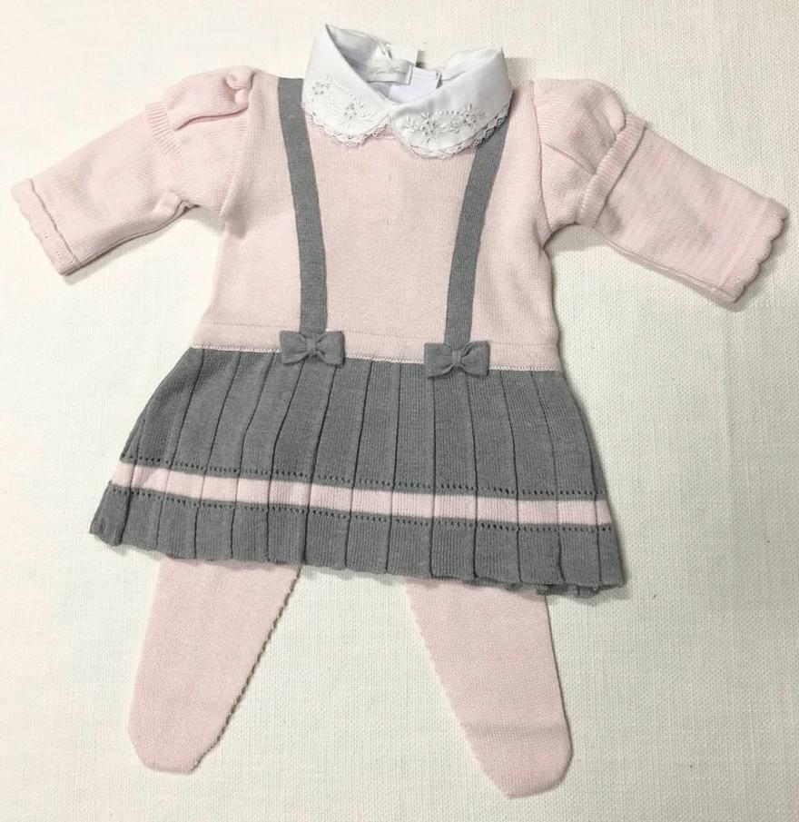 Vestido Suspensório - Cinza com Rosa