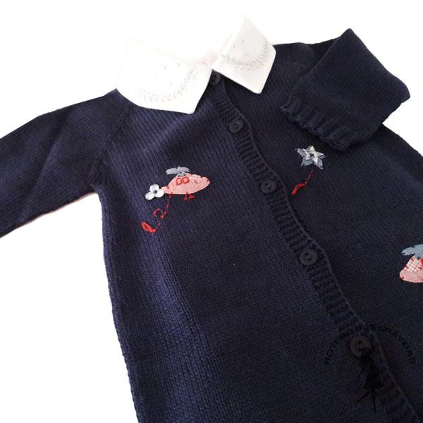 Macacão de tricô azul marinho