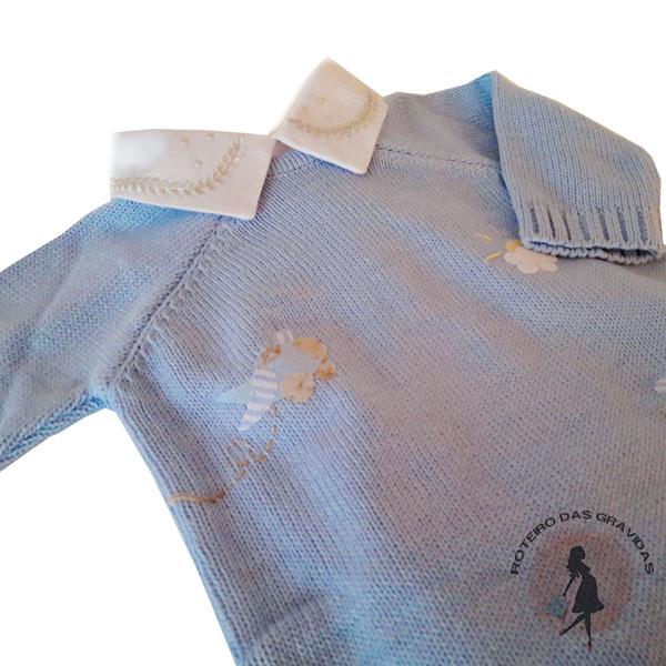 Macacão de tricô azul claro