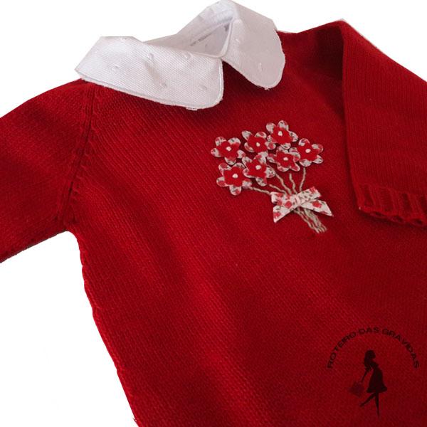 Macacão de tricô vermelho