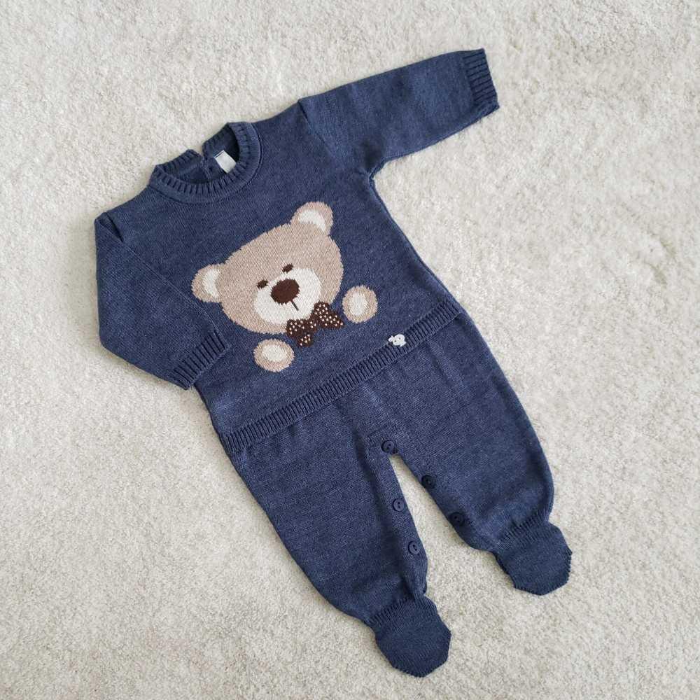 Macacão Urso - Azul Indigo