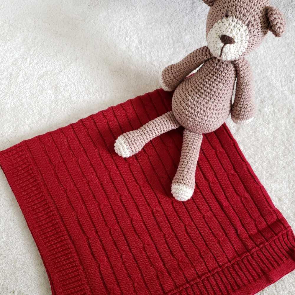 Manta de tricô - Vermelha
